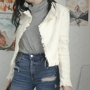 Dalia Cream White fringe tweed crop blazer XS